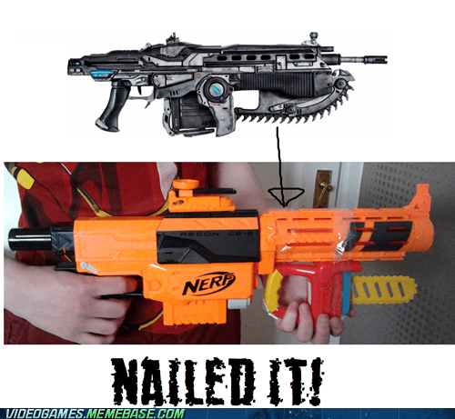 guns,chainsaw,IRL,Nerf,Gears of War