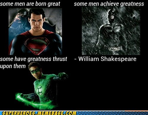 shakespeare,batman,Green lantern,superman