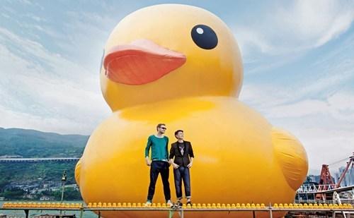 hong kong,cityscape,rubber duck