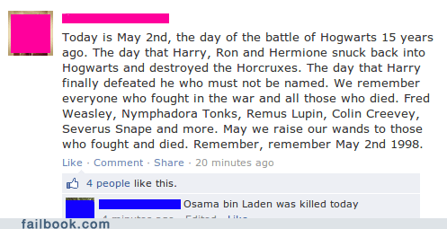 Harry Potter Osama Bin Laden failbook