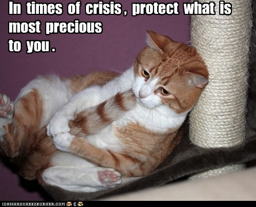 In times of crisis , protect what is most precious to you .