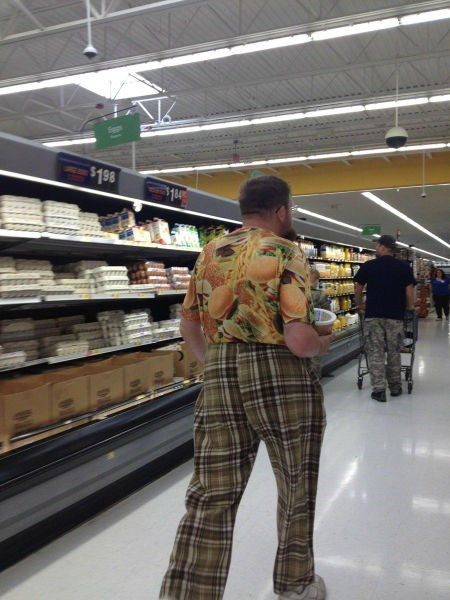 cheeseburger shirt,pants,patterns,plaid,poorly dressed,g rated,funny