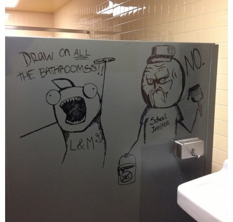 janitor,bathroom stall,all the things,bathroom,graffiti,no