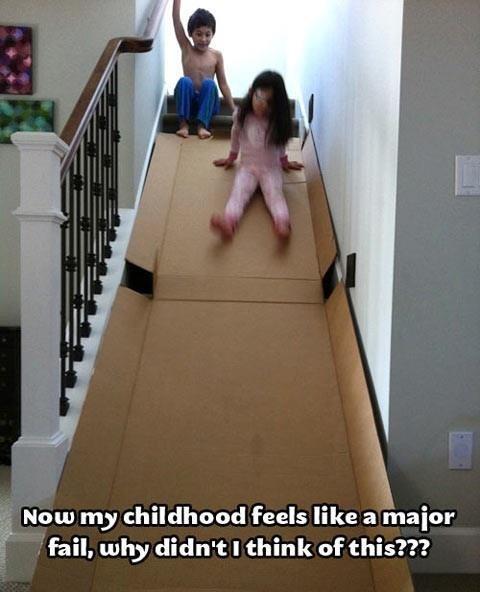 stair slide,cardboard