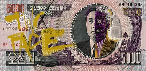 super heroes,North Korea,nerdgasm,hacked irl,money,currency,funny