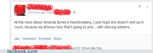 failbook g rated dancing lobsters Amanda Bynes