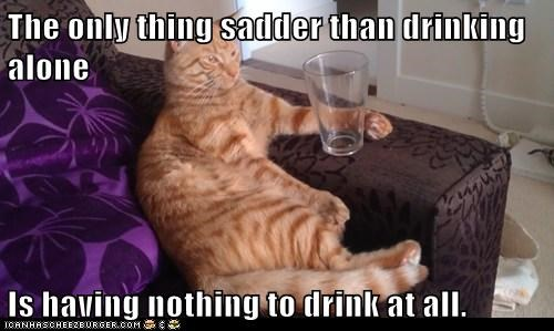 The only thing sadder than drinking alone Is having nothing to drink at all.