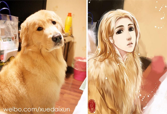 artist makes human counterparts to portraits of dogs and cats
