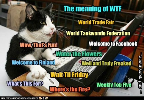 The meaning of WTF World Taekwondo Federation Welcome to Facebook What's This For? Welcome to Finland Weekly Top Five Wow, That's Fun! Well and Truly Freaked World Trade Fair Wait Til Friday Water the Flowers Where's the Fire? ... and many more...