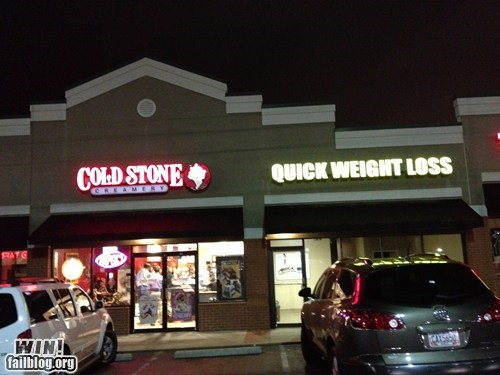 weight loss,sign,gym,ice cream,irony,funny