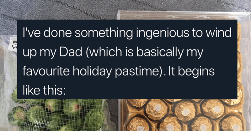 Funny prank about replacing ferrero rocher with brussels sprouts | tweet by mcjude done something ingenious wind up my Dad (which is basically my favourite holiday pastime begins like this: essential Waitrose brussels sprouts FERRERO ROCHER
