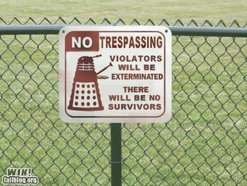 sign daleks nerdgasm doctor who tresspassing funny - 7426439936