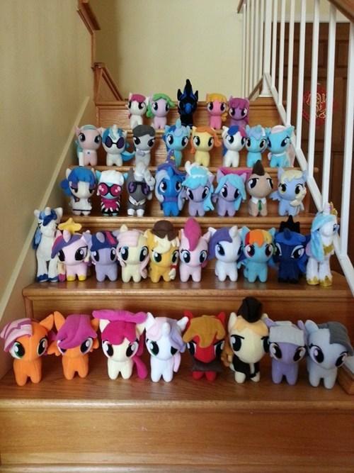 ponies,plushies,stairs,dawww,cute,hnng,omg