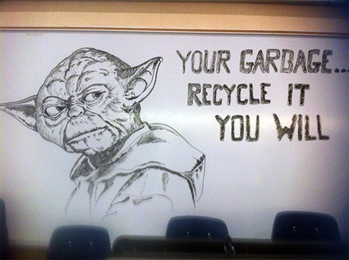 star wars,whiteboard,nerdgasm,yoda,recycling,funny