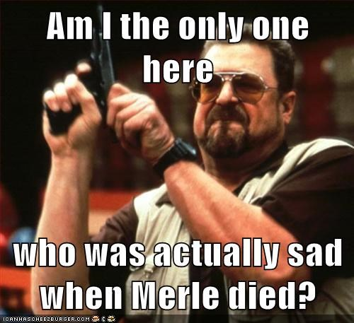 Am I the only one here  who was actually sad when Merle died?