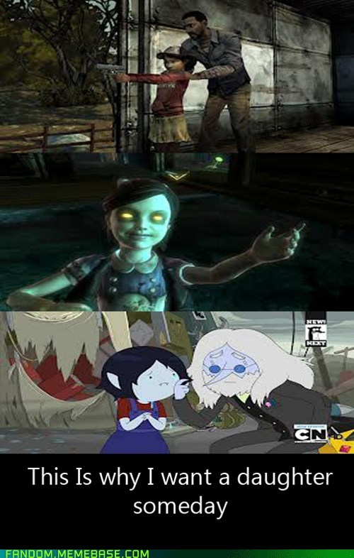 crossover cartoons video games bioshock funny The Walking Dead adventure time - 7434514432