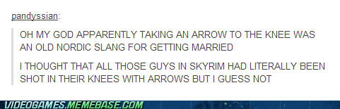 marriage,arrow to the knee,video games,Skyrim,funny