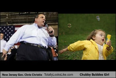 Chris Christie totally looks like bubble girl funny - 7435548160