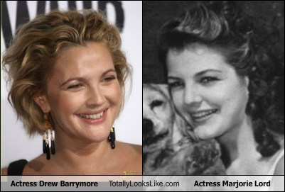 Actress Drew Barrymore Totally Looks Like Actress Marjorie Lord