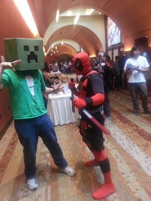 cosplay creeper deadpool minecraft video games - 7439014144