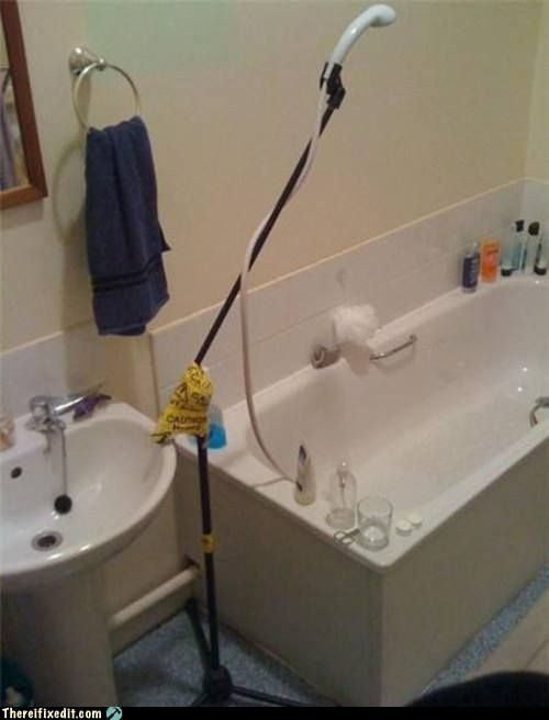 mic stand,shower,g rated,funny,there I fixed it