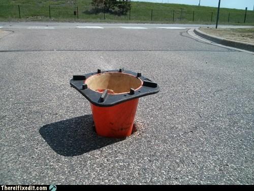 cone,pothole,funny