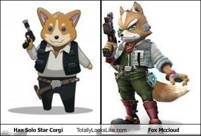 fox mccloud,Star Fox,totally looks like,Han Solo,funny,corgis