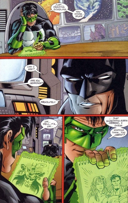 art,off the page,batman,Green lantern,funny
