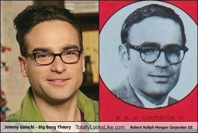 johnny galecki,robert ruliph morgan carpenter,big bang theory,totally looks like,funny