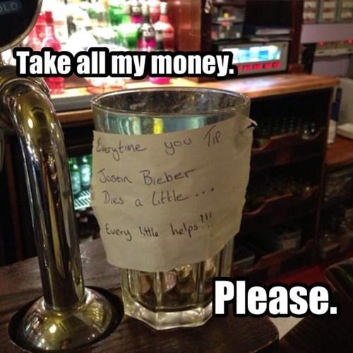 Music,tip jar,funny,justin bieber