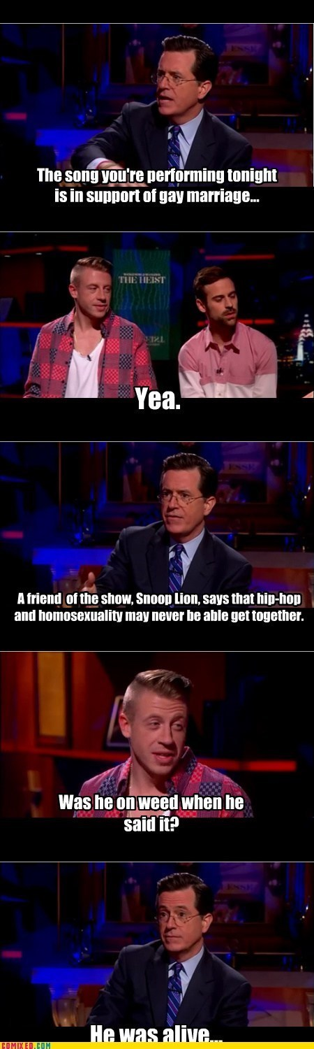 snoop lion,Music,stephen colbert,gay marriage,Macklemore,Ryan Lewis,funny