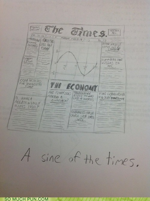 sine,puns,funny,newspaper
