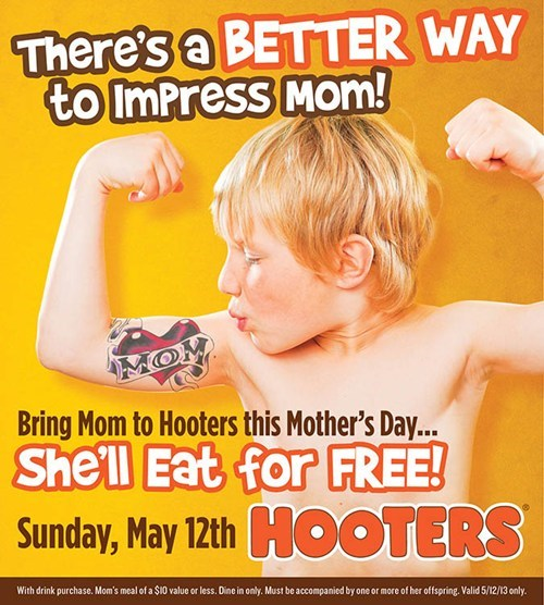 Ad,bad idea,hooters,moms day