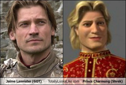 prince charming,Game of Thrones,totally looks like,shrek,jaime lannister,funny