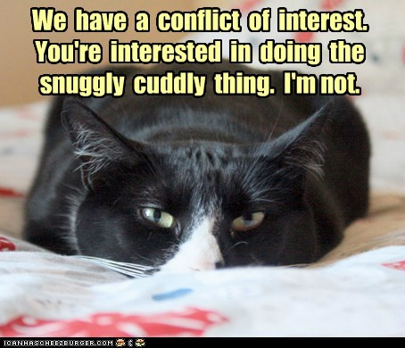 We have a conflict of interest. You're interested in doing the snuggly cuddly thing. I'm not.
