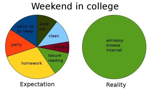expectation vs. reality weekend graphs funny college - 7446185984