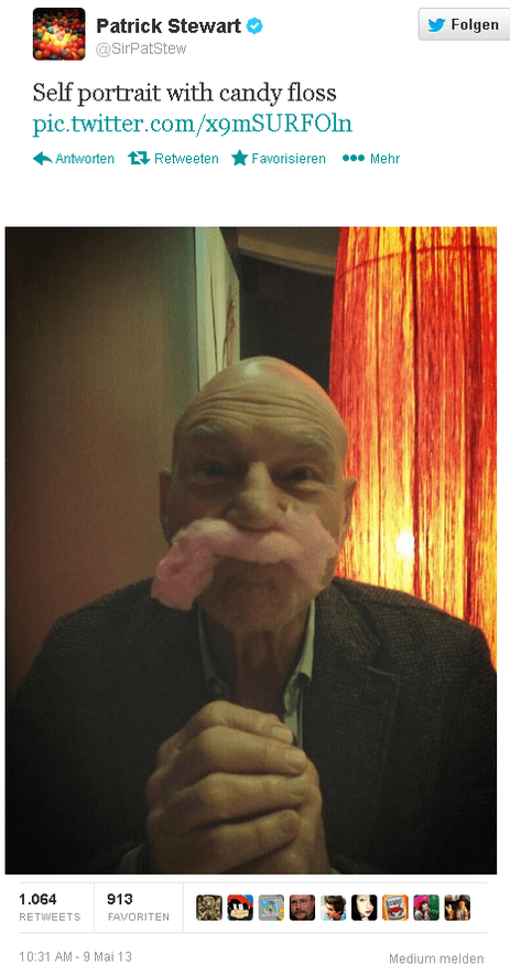 twitter,cotton candy,patrick stewart,funny