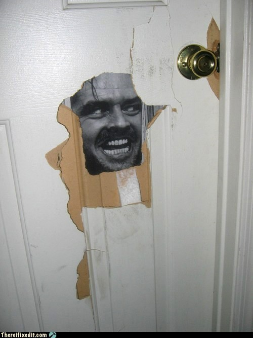 door,hole patched,psycho,funny