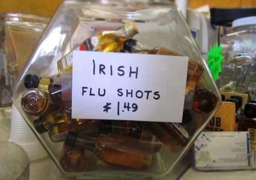 flu shots,irish,funny,liquor store