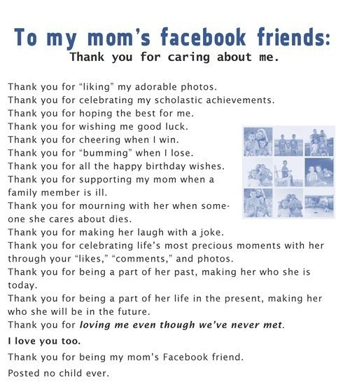 To my mom's facebook friends