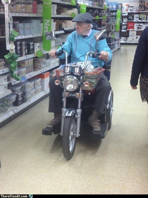 clever,scooter,old people,motorcycle,funny,g rated,there I fixed it