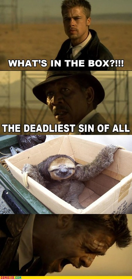 se7en,brad pitt,whats in the box,sloths,funny