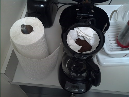 coffee maker,coffee filters,paper towels,funny,there I fixed it