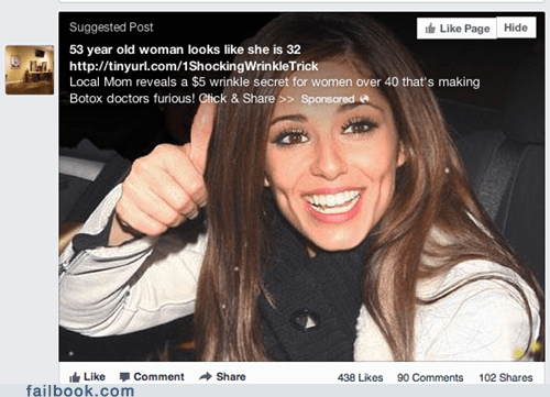 cheryl cole,botox,facebook ads,ads,ad fail