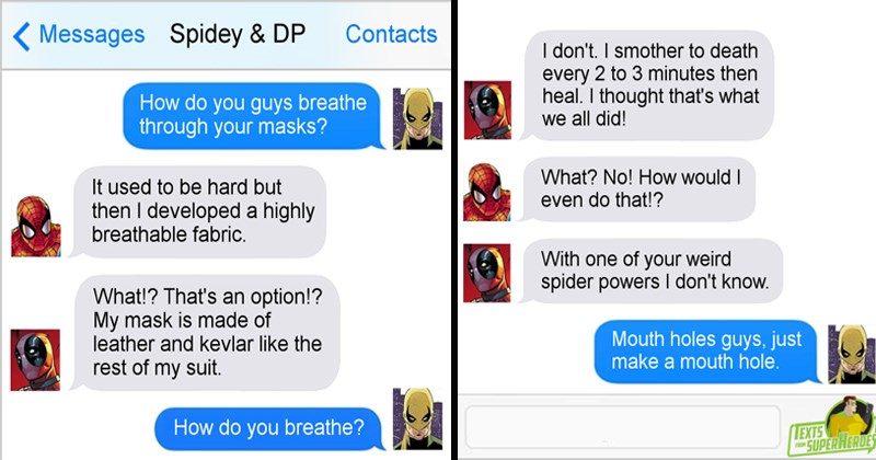marvel DC texts from superheroes superheroes loki Thor iron man captain america Spider-Man deadpool batman Black Widow - 7451397