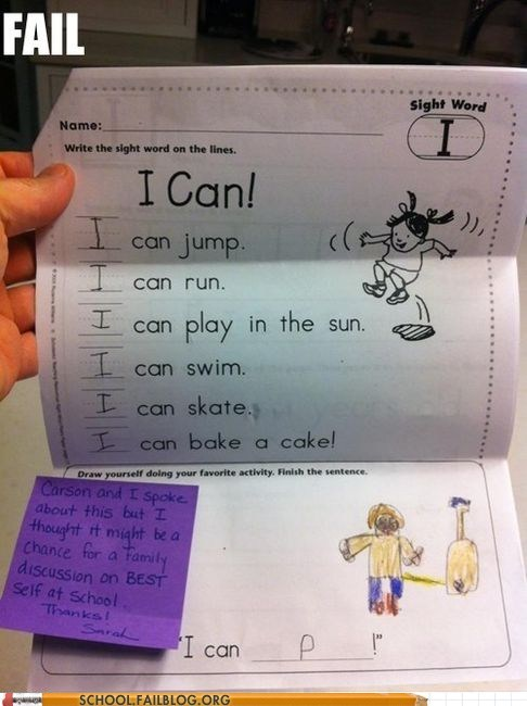 kid teachers note pee wrong test spelling funny - 7451453952