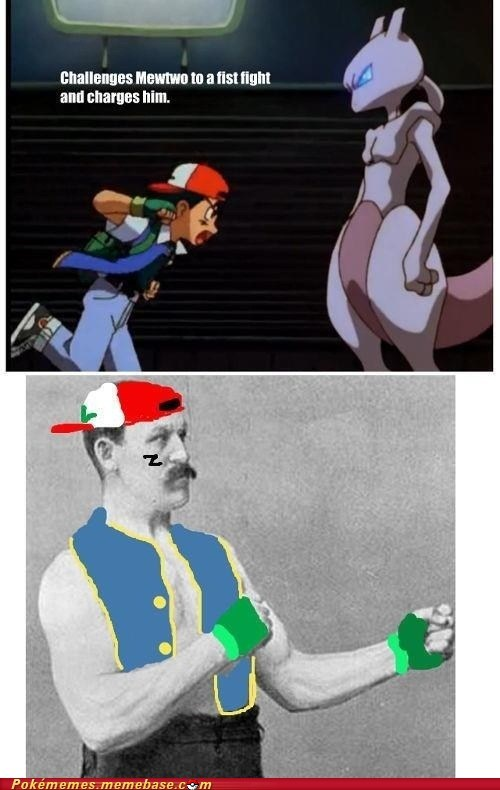 ash,Pokémon,anime,Memes,mewtwo,funny,overly manly man