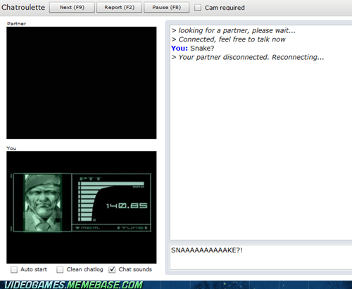 chatroulette,codec,metal gear solid,video games,funny,snake
