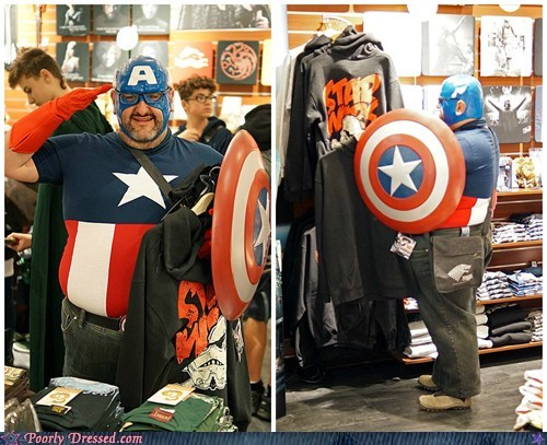 Captain 'Murica getting a Star Wars Shirt