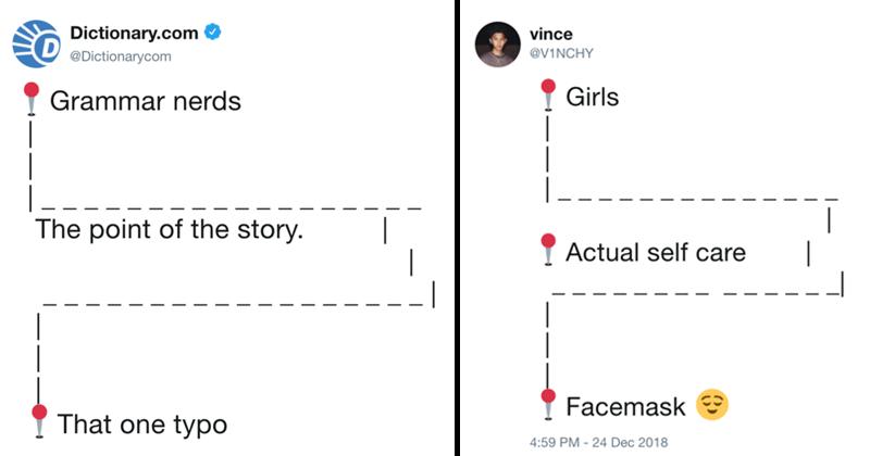 Funny twitter meme, pushpin emoji.